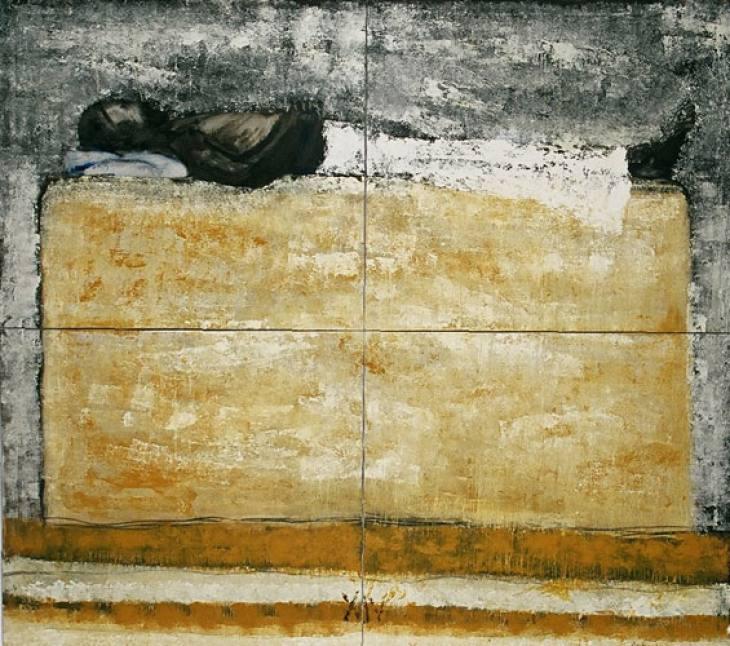 XIV - Jezusa položijo v grob, 180x200cm, olje-platno, 2004