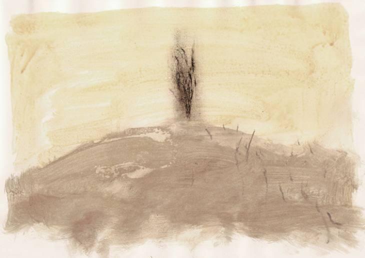 DREVO-I,20,5X29,5cm,akril-papir,2009